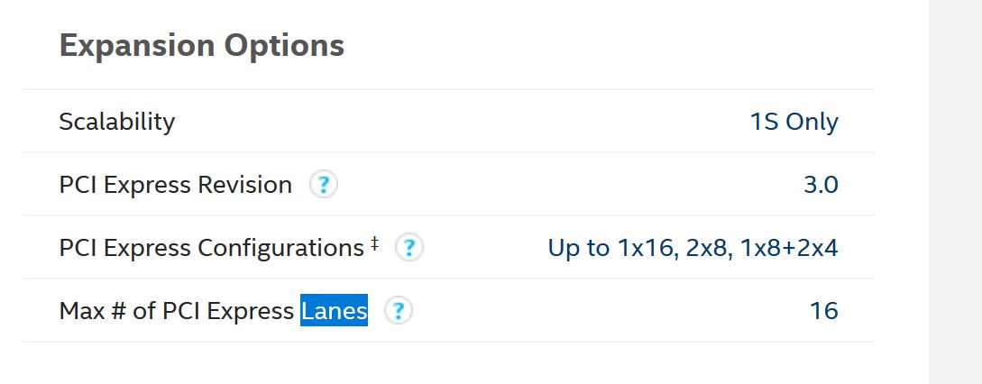 PCIe Lanes Core i7-9th