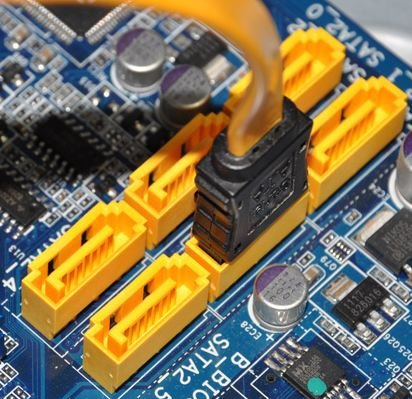 SATA ports on a motherboard