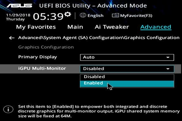 enable integrated graphics in bios
