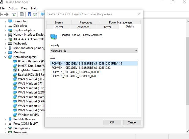 ethernet controller hardware id